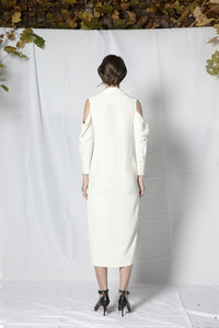 M28 off-shoulder off white midi dress