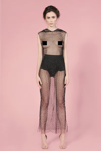 Shine fishnet  rhinestones dress with hoodie
