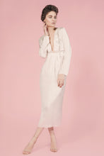 Merveilles white long silk dress with fringes