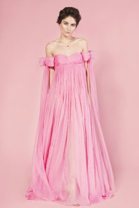 Sofia silk long dress with detachable bows