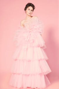 Candy pink tulle ruffle dress