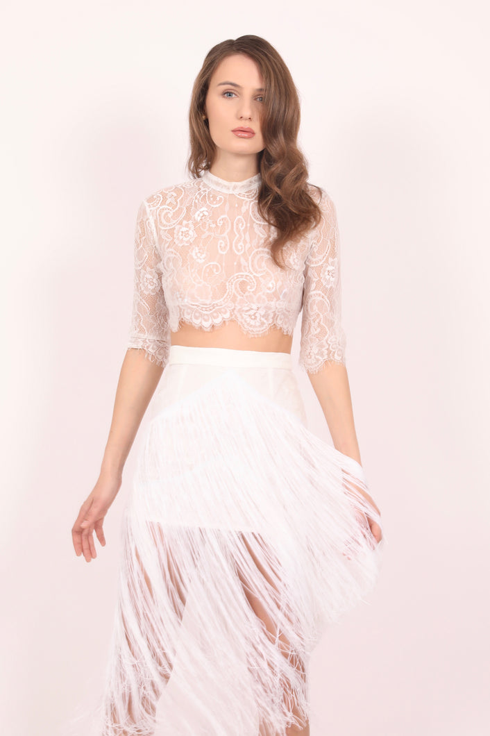 Daisy white chantilly lace skirt with fringes