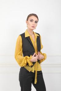 Lilly mustard silk sheer chiffon shirt