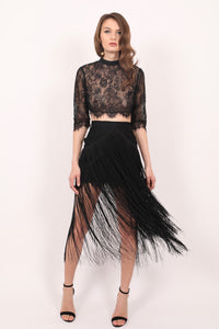 Daisy chantilly lace skirt with fringes
