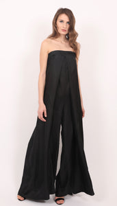 Polina black silk corset fitted jumpsuit