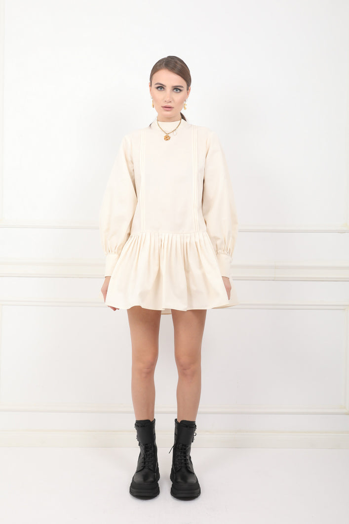 Anne ivoire taffeta ruffled mini dress with puffed sleeves and detachable oversized bow