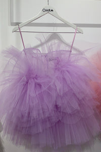 Lavander peonies tulle ruffles and oversized flowers mini dress