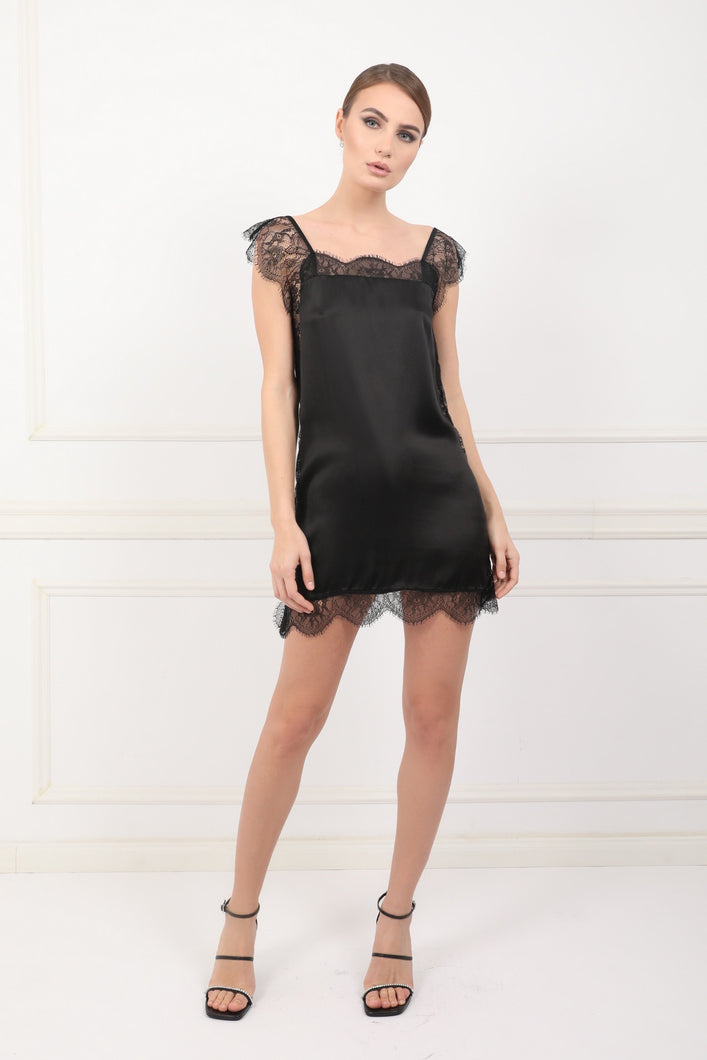 The Black Sea silk satin mini dress with chantilly lace