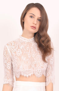 Daisy sheer white lace top