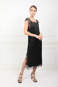 The Black Sea silk midi dress with chantilly lace