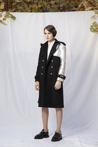 M17 wool with leather sleeve trench coat