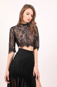 Daisy sheer chantilly crop top