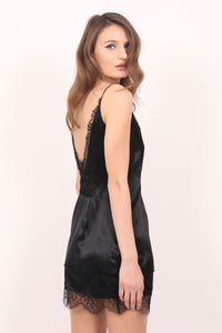 Seaside black lace-trimmed silk satin camisole dress