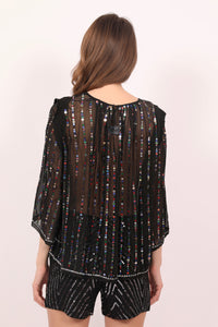 Sheer black silk multi coloured sequins top