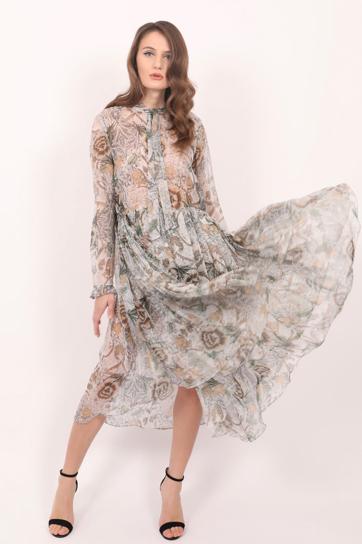 Natalia floral print sheer silk chiffon pleated midi dress
