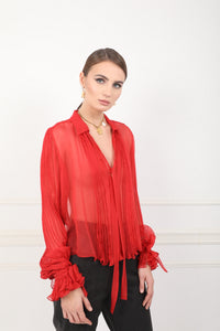 Lilly black silk sheer chiffon shirt