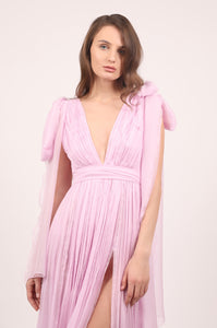 Isabella pink silk chiffon midi dress with oversized bows