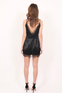Tanya black lace-trimmed silk satin camisole dress