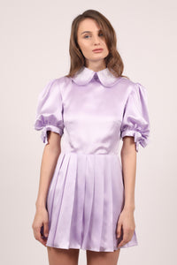 Lavander silk satin Victoria mini dress