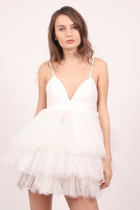 White Candy satin tulle ruffles mini dress