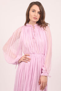 Cherry blossom pink silk chiffon midi dress