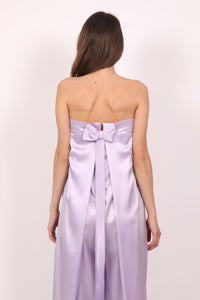 Lavander silk satin corset fitted jumpsuit