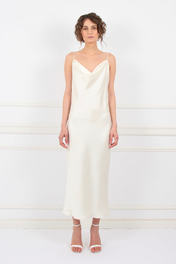 White rose silk satin slip midi dress