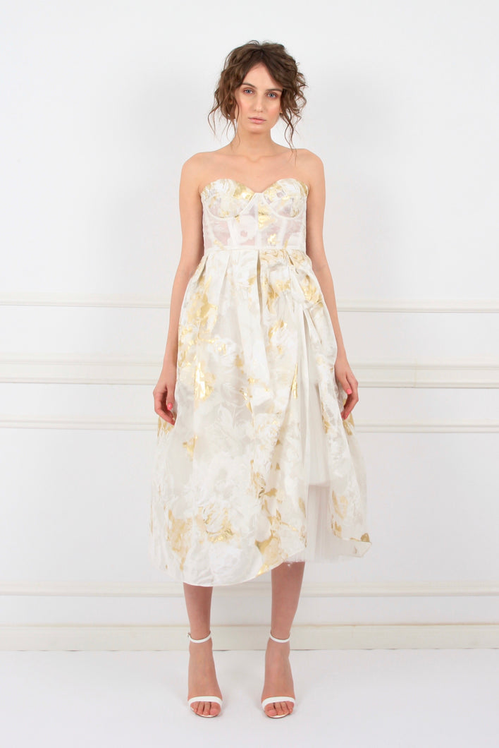 Alice in Wonderland silk organza lame embroidery midi couture dress