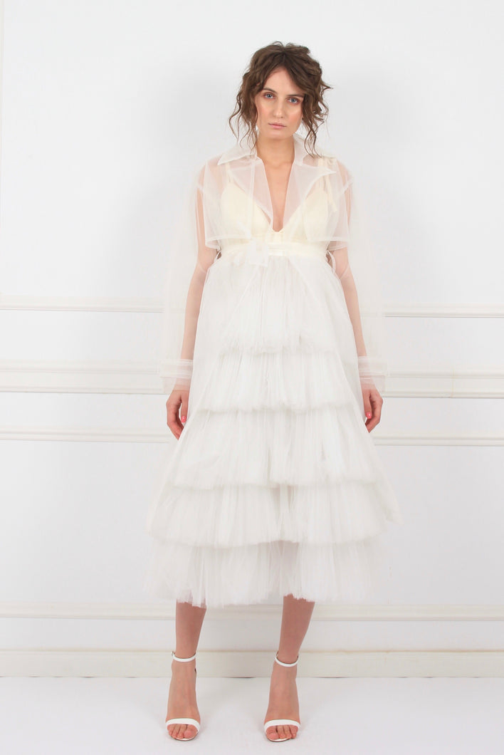 OMRA sheer white tulle trench