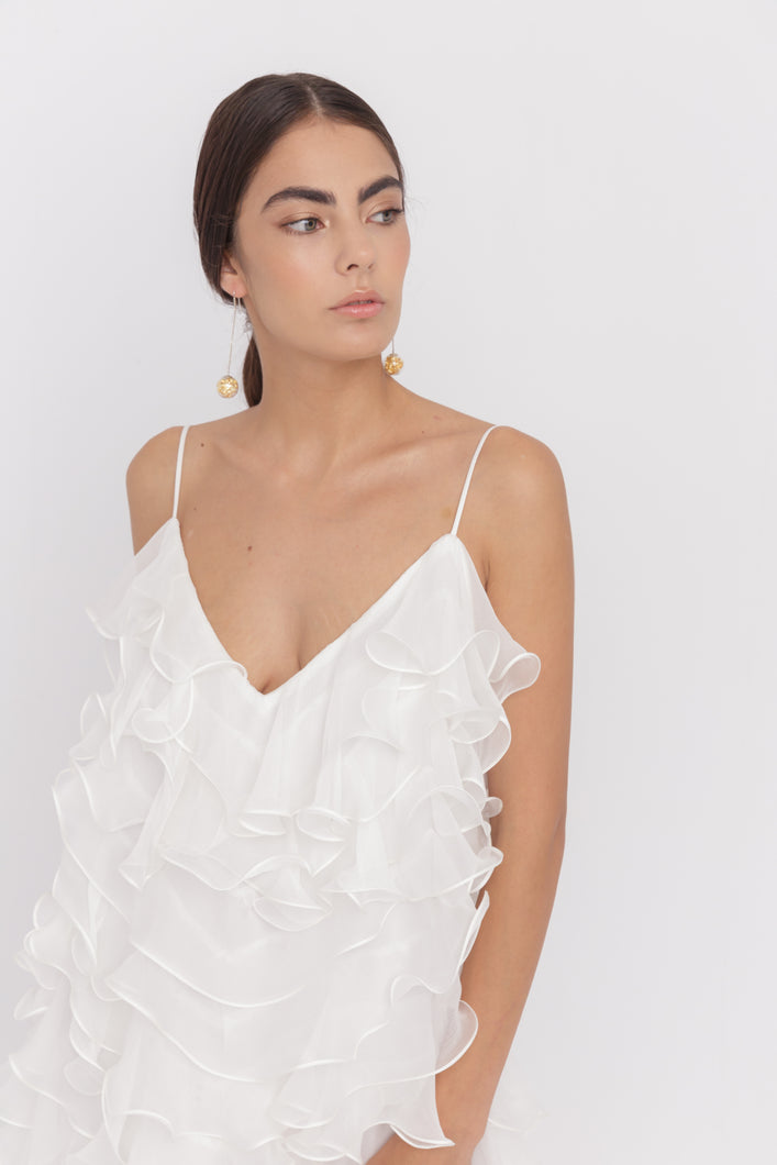 Mykonos silk chiffon ruffles mini dress