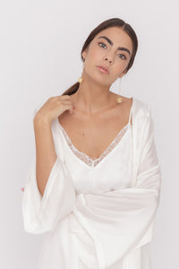 Seaside lace-trimmed silk-satin camisole dress