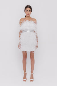 Moulin Rouge white feathers dress