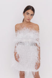 Moulin Rouge white feathers mini dress