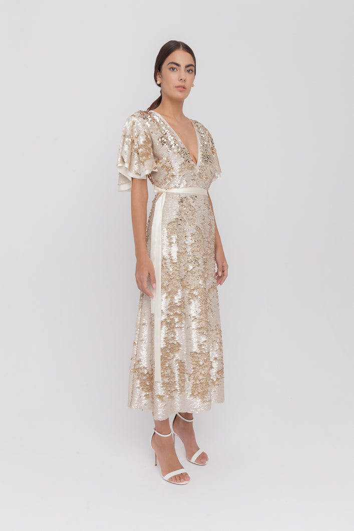 Barbara golden sequins dress