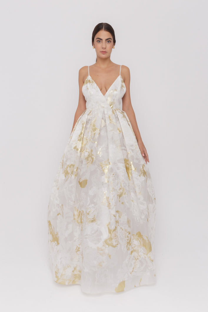 Anabelle lame embroidery silk organza maxi couture gown