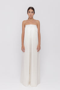 Dolce ivoire silk satin sleeveless demi-couture jumpsuit