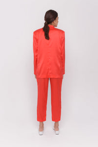 ROMA satin red trousers 100% silk