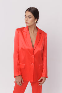 Roma silk satin red suit jacket