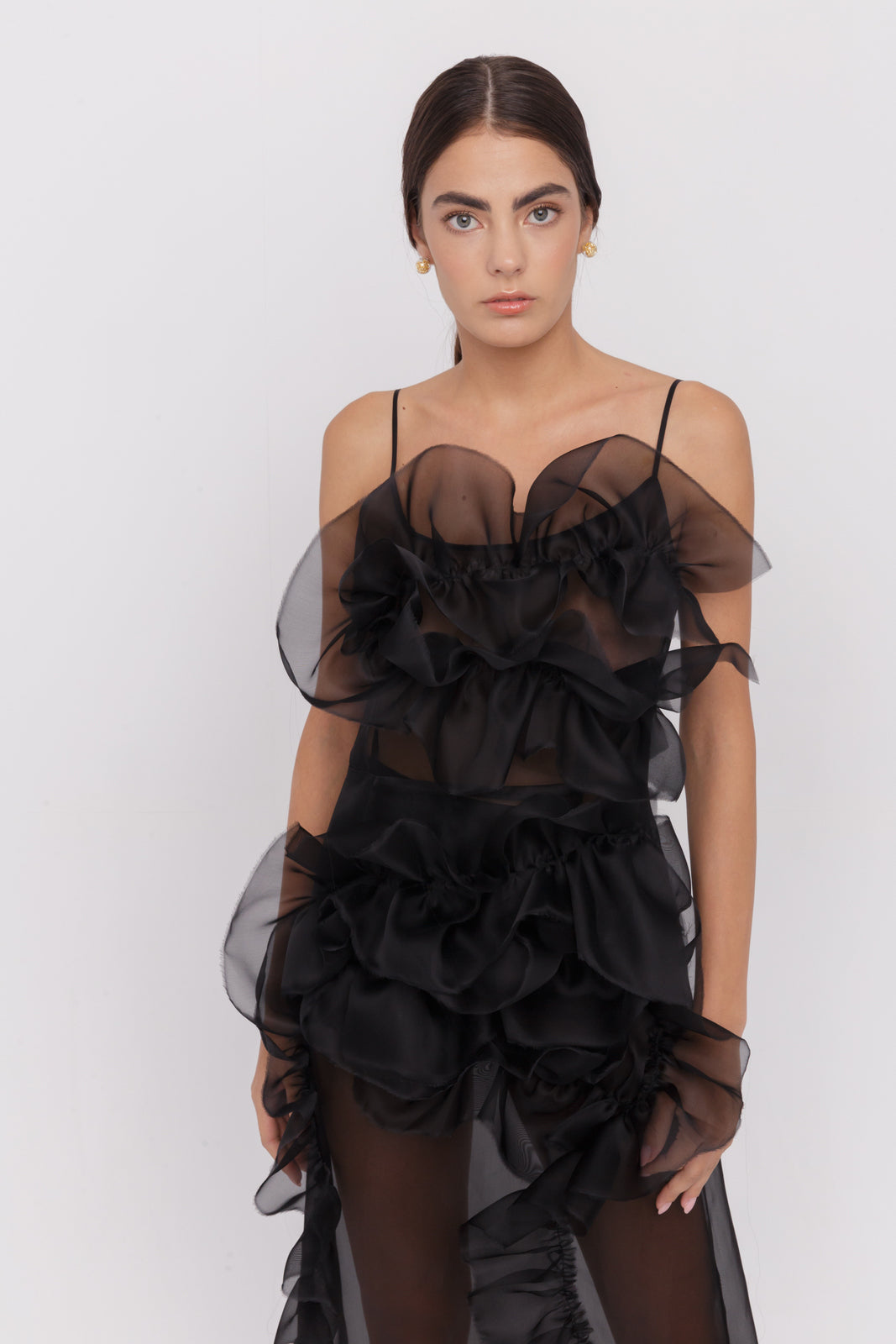 Aceline sheer silk organza ruffles dress