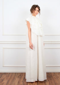 Antoinette oversized frill cotton maxi dress