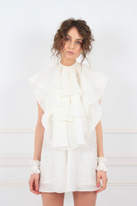 Antoinette oversized frilled cotton mini dress