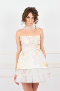 Alice in Wonderland gold embroidery silk organza ruffled mini couture dress