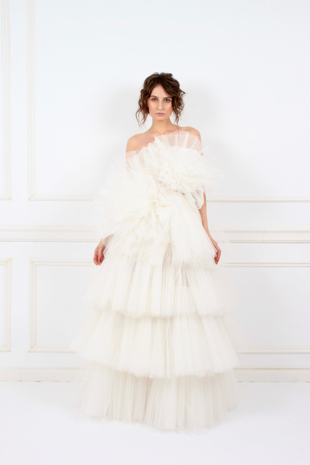 Candy white ruffled tulle maxi dress
