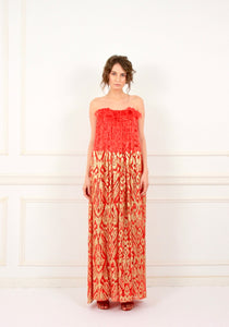 Marguerite lace and sequins maxi red gown