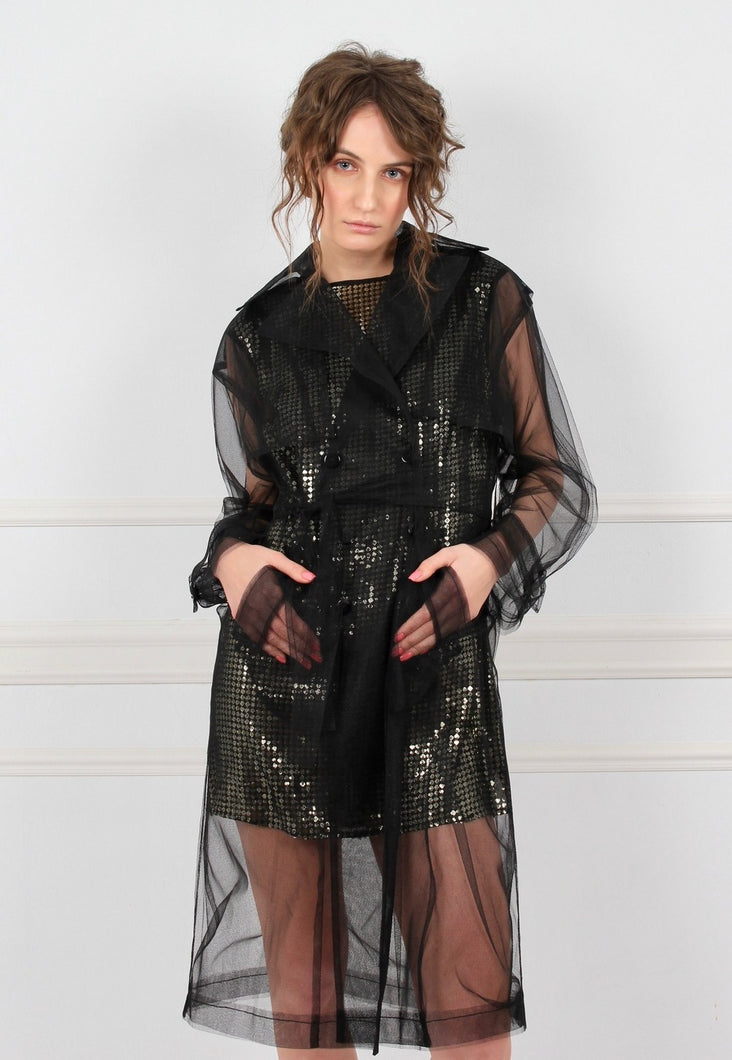 OMRA sheer black tulle trench