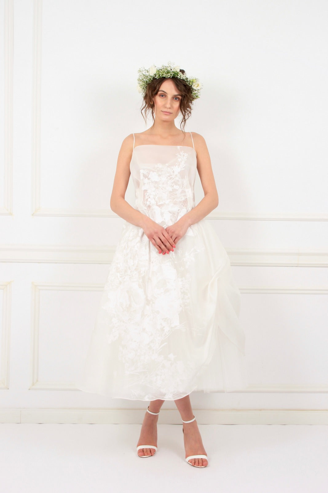 Aimee silk organza with hand-painted white flowers midi couture dress