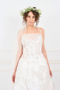 Aimee silk organza with hand-painted white flowers midi dress