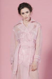 Candy pink tulle trench