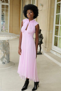 Marie demi-couture silk chiffon sleeveless midi dress