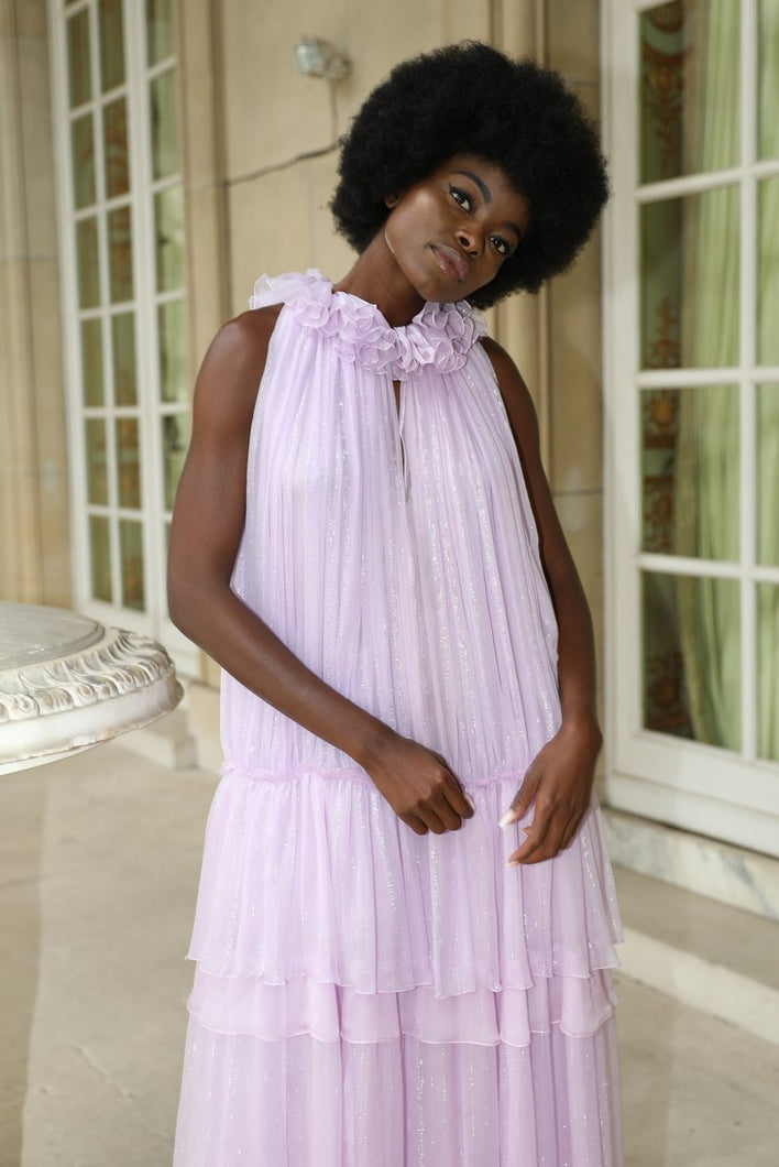 Contessa lavander silver lame silk chiffon ruffled dress